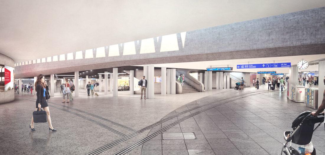 Zukunft Bahnhof Bern mit Virtual Reality Brille